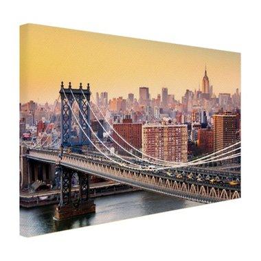 Skyline New York in de avond - Canvas