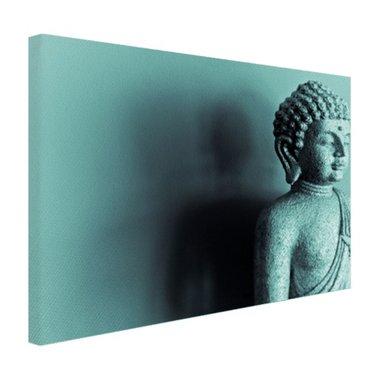 Boeddha beeld blauw fotoprint - Canvas