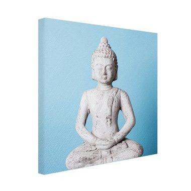 Witte Boeddha met blauwe achtergrond - Canvas