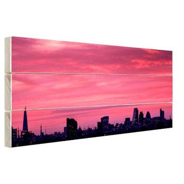 Londen skyline bij zonsondergang - Hout