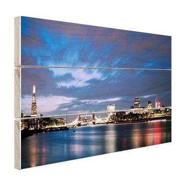 Londen skyline in de avond - Hout