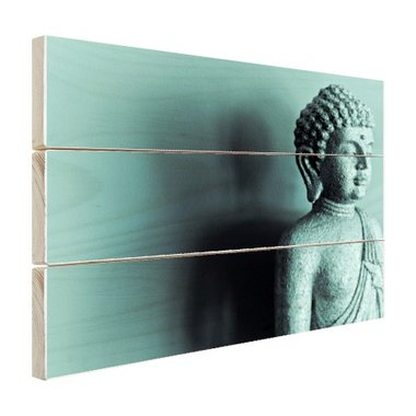 Boeddha beeld blauw fotoprint - Hout