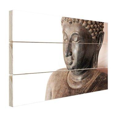 Boeddha hoofd van steen - Hout