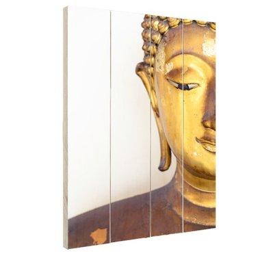Gouden Boeddha hoofd - Hout