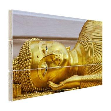 Liggende Boeddha van goud - Hout