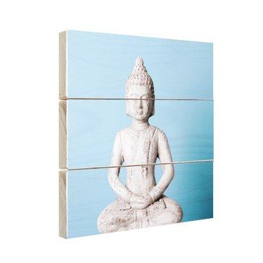 Witte Boeddha met blauwe achtergrond - Hout