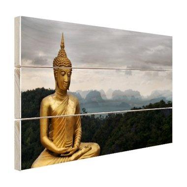 Boeddha met bewolkte lucht - Hout