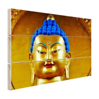 Goud met blauw Boeddha beeld - Hout
