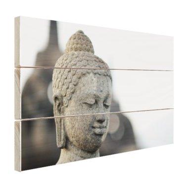 Boeddha hoofdbeeld steen - Hout