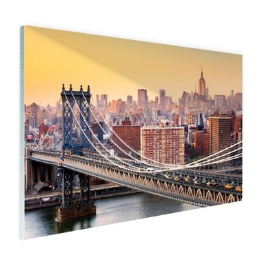 Skyline New York in de avond - Plexiglas