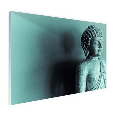 Boeddha beeld blauw fotoprint - Plexiglas