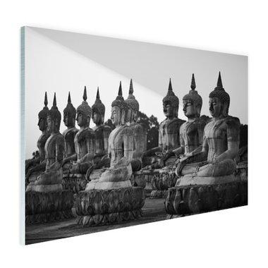 Zwart-wit foto van Boeddhas - Plexiglas