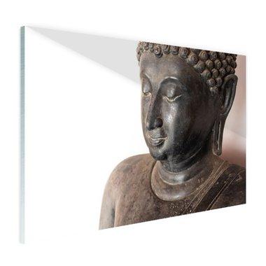 Boeddha hoofd van steen - Plexiglas