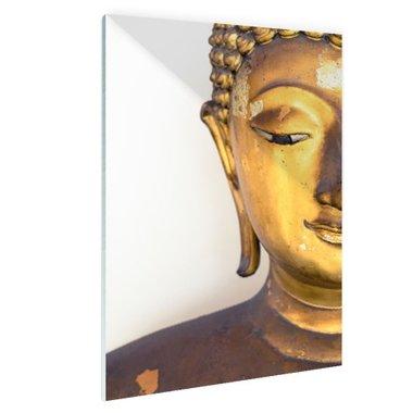 Gouden Boeddha hoofd - Plexiglas