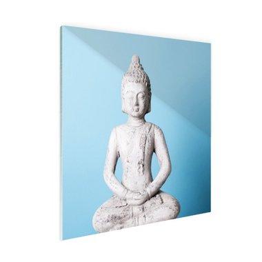 Witte Boeddha met blauwe achtergrond - Plexiglas