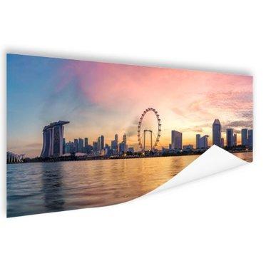 Singapore skyline zonsondergang - Poster