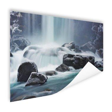 Waterval op stenen - Poster