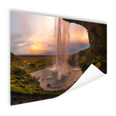 Waterval in IJsland - Poster
