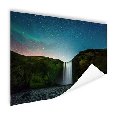 IJslandse waterval bij nacht - Poster