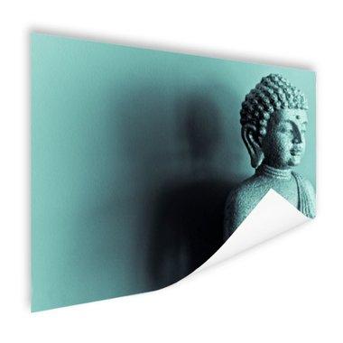 Boeddha beeld blauw fotoprint - Poster