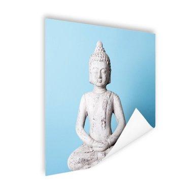Witte Boeddha met blauwe achtergrond - Poster
