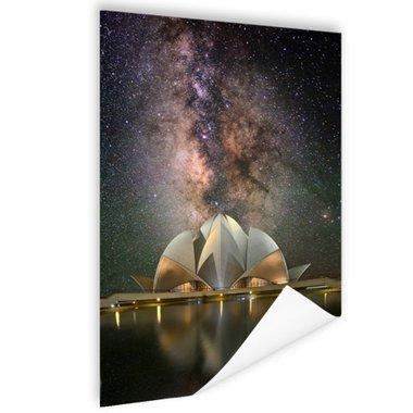 Lotus tempel in de nacht - Poster