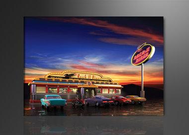 USA Diner - Canvas Schilderij 120 x 80 cm