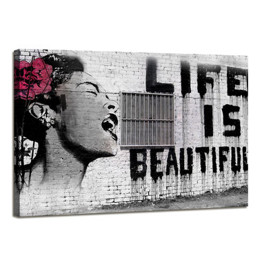 Banksy Life is Beautiful - Canvas Schilderij 80 x 60 cm