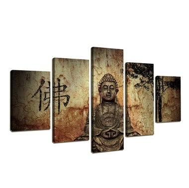 Buddha - Canvas Schilderij Vijfluik 160 x 80 cm