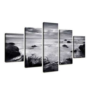 Oceaan - Canvas Schilderij Vijfluik 160 x 80 cm