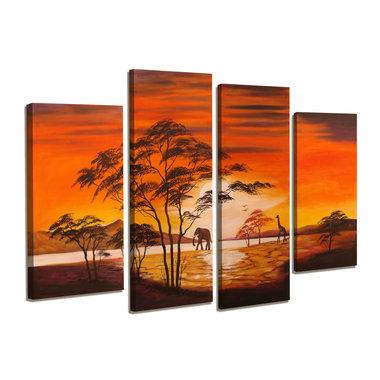 Afrika - Canvas Schilderij Vierluik 130 x 80 cm