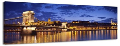 Budapest - Canvas Schilderij Panorama 158 x 46 cm