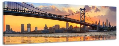 Ben Franklin Bridge - Canvas Schilderij Panorama 158 x 46 cm
