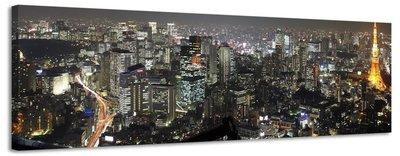 Parijs bij nacht - Canvas Schilderij Panorama 158 x 46 cm