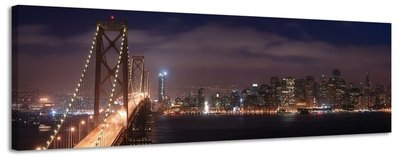 Bay Bridge - Canvas Schilderij Panorama 158 x 46 cm