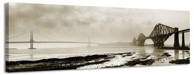 Bruggen in de mist - Canvas Schilderij Panorama 158 x 46 cm