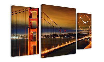 Golden Gate Bridge - Canvas Schilderij Klok Triple