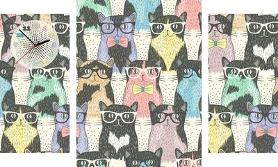 Vintage Katten - Canvas Schilderij Klok Triple