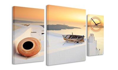 Griekse zonsondergang - Canvas Schilderij Klok Triple