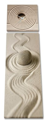 Zand en steen - Canvas Schilderij Klok Panorama