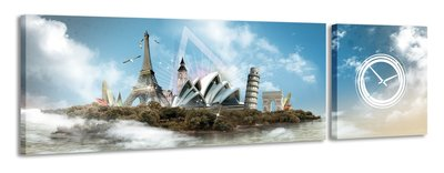 Wereldsymbolen - Canvas Schilderij Klok Panorama