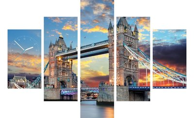 Tower Bridge - Canvas Schilderij Klok Vijf delen