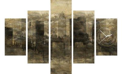 Wolkenkrabbers - Canvas Schilderij Klok Vijf delen
