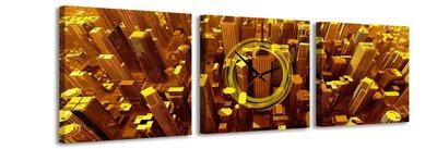 Gouden Stad - Canvas Schilderij Klok Vierkanten