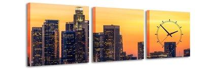 Los Angeles - Canvas Schilderij Klok Vierkanten