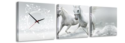 Paarden - Canvas Schilderij Klok Vierkanten