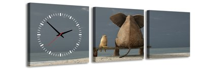 Olifant en hond - Canvas Schilderij Klok Vierkanten