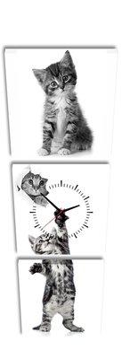 Kittens - Canvas Schilderij Klok Vierkanten