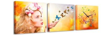 Vlinders - Canvas Schilderij Klok Vierkanten
