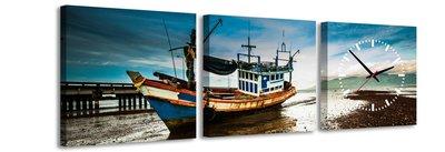 Boot - Canvas Schilderij Klok Vierkanten